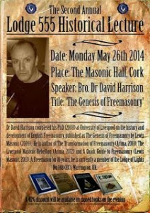 Dr David Harrison Historical Lecture at Lodge No. 555, Cork, Ireland