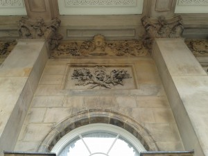 The staff of Caduceus appearing above the balcony of Liverpool Town Hall.