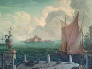 The mural showing a castle on the island after Windsor Castle.