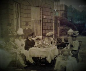 Edward VII visited Baron Hill, here he can be seen sitting on the terrace taking tea with members of the Bulkeley family.